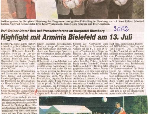 Veranstaltung des Fußballspiels Arminia Bielefeld-SC Verl in Blomberg