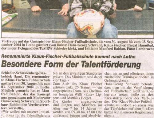 Besuch von Klaus Fischer, mehrfacher Fußball-Nationalspieler, 2-bester Torjäger der Bundesliga